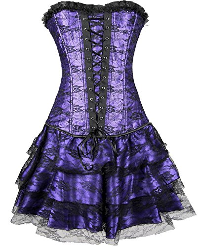 Black Purple Gothic Bustier Corset product image