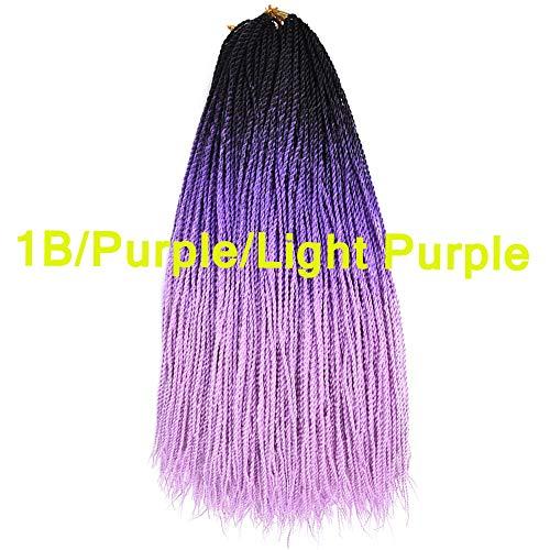 Senegalese Twist Crochet Hair Ombre Three Color 100% Made in Hand Braids Ombre Crochet Twist Braids 3 Packs 24Inch 20Roots/Pcs (1B/Purple/Light Purple) ()