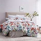 Leadtimes Queen/Full/ King Floral Lightweight Printed Pattern Microfiber Duvet Cover Set, Soft Bedding Set 2 Pillow Shams and 1 duvet cover