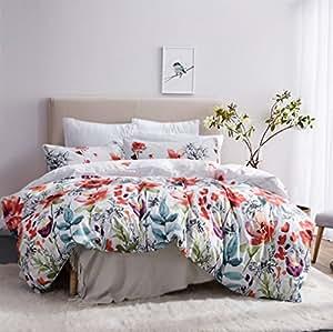 Amazon.com: Flower Duvet Cover Set, Floral Boho Hotel Bedding Sets ...
