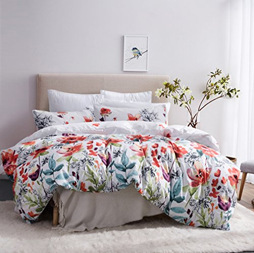 Leadtimes Queen/Full/King Floral Lightweight Printed Pattern Microfiber Duvet Cover Set, Soft Bedding Set 2 Pillow Shams and 1 duvet cover