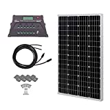 HQST 100 Watt 12 Volt Monocrystalline Solar Panel Kit with 20A PWM LCD Common Postive Solar Charge Controller, 20Ft 12AWG Solar Cable, Z-Brackets
