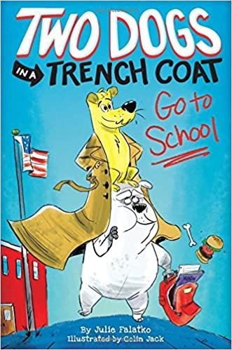 Image result for two dogs trench coat go to school