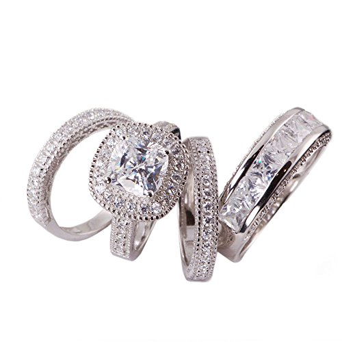 Cushion Cut Men Ring (His & Hers 4pc Matching Halo Cushion Cut Cz Bridal Engagement Wedding Ring Set .925 Sterling Silver Size 5-13 (His 8 Her 7))