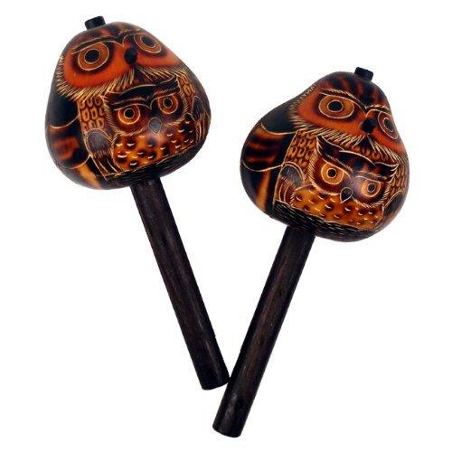 Owl Gourd Maraca Pair Hand Carved Peru Fair Trade Musical Instruments (Maracas Pair Gourd)