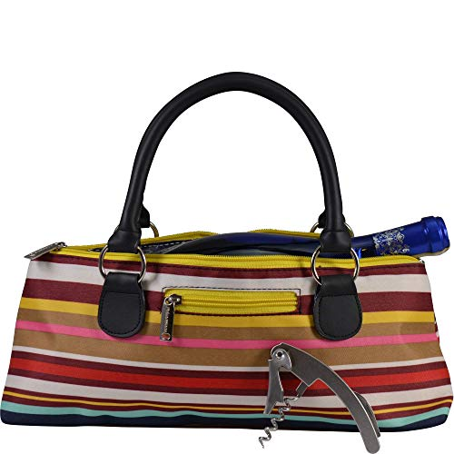 Primeware Wine Clutch Bag (Thermal Insulated) Trendy Women's Carry Tote | Holds Red & White 750mL Bottles | Trendy Fashion | Incl. Portable Waiter-Style Corkscrew (Striped Cooler)