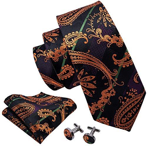 Necktie Black Background (Barry.Wang Black Orange Ties Men Necktie Set Handkerchief Cufflinks)