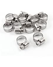 uxcell® a13122500ux0658 Stainless Steel 6mm to 12mm Pipes Tube Hose Clamps Clips, 10 Pcs,