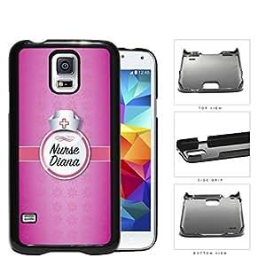 Girly Pink Nurse NAME MONOGRAM CUSTOM Design Samsung Galaxy S5 SM-G900 Hard Snap on Plastic Cell Phone Case Cover