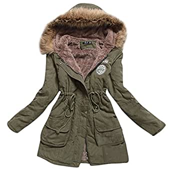 Amazon.com: Womens Hooded Warm Winter Coats Faux Fur Lined Parkas Black Pink Green Blue Red