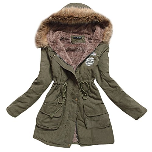 Women Winter Warm Fleece Parka Thicken Jacket Hooded Down Coat Army Green US Size XL Label size 3XL  (Coat Womens Jacket Style)