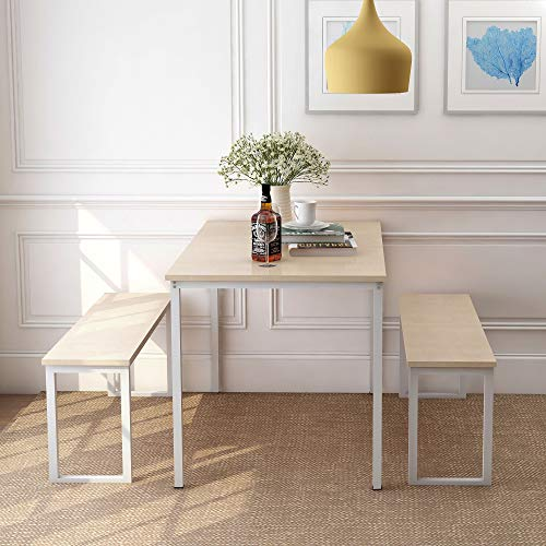 Rhomtree 3 Pieces Dining Set Table with 2 Benches Kitchen Dining Room Furniture Modern Style Wood Table Top with Metal Frame (Oak)