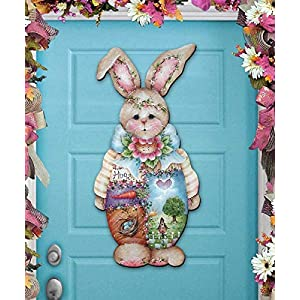 Spring Wreath - BELLA BUNNY Wooden Door Hanger by Jamie Mill Price - Wall decor - Wall Hanging #8457601H 32