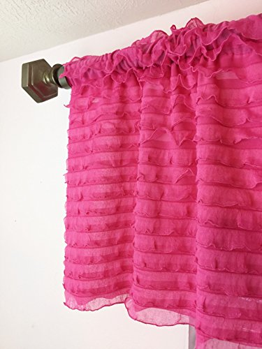 Hot Pink Ruffle Valance Sheer Extra Wide Window Treatment for Nursery, Kitchen, Living Room, Girl Bedroom (Curtains And Crafts Arts Style)