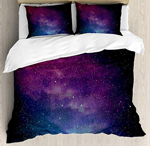 SINOVAL Star Duvet Cover Set Queen Size, Universe Filled with Stars Nebula and Galaxy Cassiopeia Interstellar Astronomy,Fashion 3 Piece Bedding Set with 2 Pillow Shams, Magenta Blue Black
