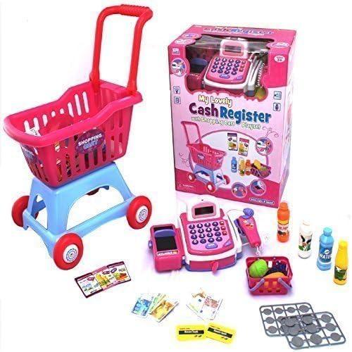 electrónico Caja Registradora Caja Carrito de la Compra CARRETA Falso Supermercado Puesto Comida De Juguete Juguete Role Play Set: Amazon.es: Juguetes y juegos