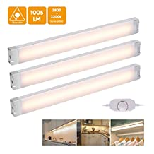 LED Under Cabinet Lights, EECOO Under Counter Lighting 24 LEDs Dimmable LED Night Light for Closet, Cupboard Shelf and Kitchen, 3000k Warm White 12W 12V 3 Packs