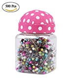 Quilting Pins, 500Pcs/Bottle Straight Pins Ball Head Multicolor Pins with Pin Cushion Mixed Round Pearl Dressmaking Push Pins for Crafts Sewing Pins and Accessories