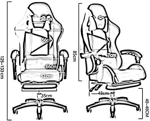 DBL Swivel stol racerstol, ergonomi hög rygg spelstol justerbar kontorsstol med nackstöd och ländrygg massagestöd skrivbordsstolar (storlek: Röd)