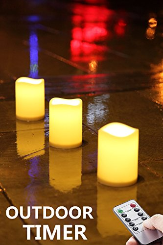 Outdoor Waterproof Remote Flameless Battery LED Pillar Candles, Made of Plastic, Won't Melt, Weather Resistant Design 3 x 4' Set of 3
