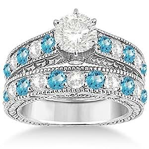 antique and blue topaz bridal wedding