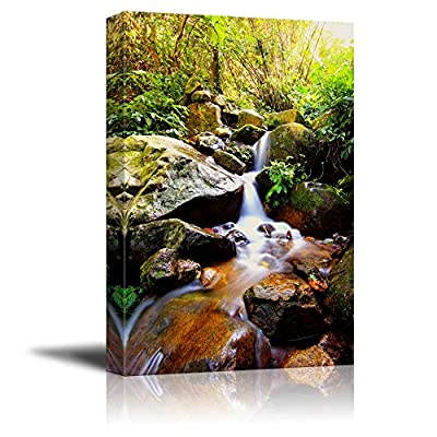 Beautiful Scenery Landscape Cascade Falls Over Mossy Rocks in The Forest - Canvas Art Wall Art - 24