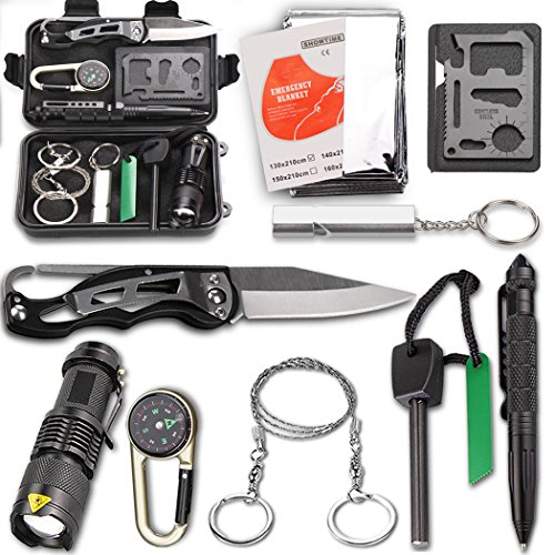 Survival Kit EMDMAK Outdoor Emergency Gear Kit with Emergency Survival Tent for Camping Hiking Travelling or Adventures (Black 2)