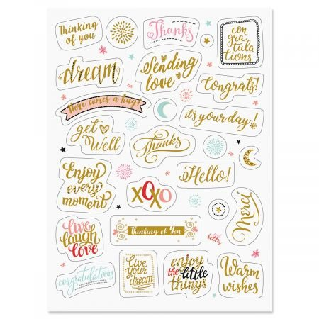 (Current Foil All Occasion Words Stickers - 52 Metallic Stickers on two 8-1/2