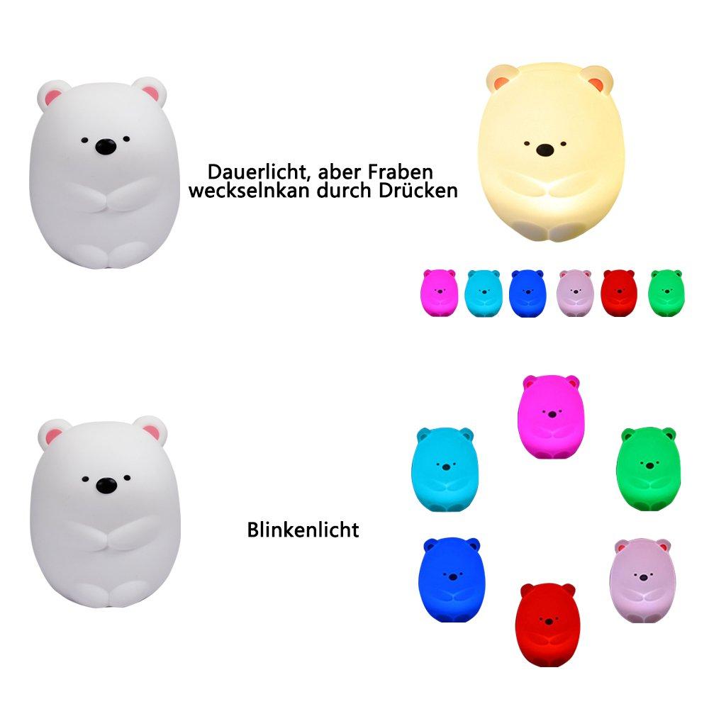 Pinguin Silikon Baby Touch Lampe Schlaflicht mit Fernbediunung und 8 Farbe f/ür Kinderzimmer BPA-frei EINWEG Nachtlicht Kind