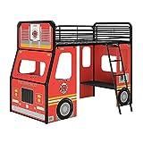 DHP Imagination Fire Truck Junior Loft Bed, Red/Black