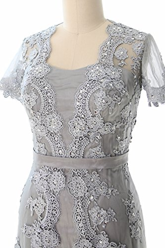 of Short Sleeve Bride Gown Mother 2017 Silber Lace Evening Dress the Women MACloth HqZ4XH