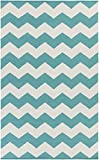Cheap Teal Rug Modern Striped Design 2-Foot x 3-Foot Cotton Flat-Woven Chevron Dhurry
