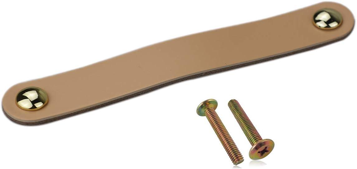6x Cajones Tiradores de cuero hechos a mano Tirador de gabinete Tiradores Tirador de puerta ajustable Tiradores de cocina Tiradores con tornillos de 22 mm, Distancia del agujero: 96cm-Beige