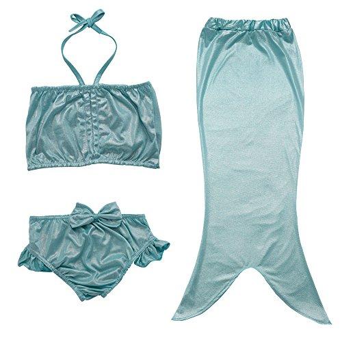 JFEELE Kids Little Girls 2 Piece Swimsuit with Mermaid Tail Swimwear Bikini Set - 4-5T,Blue by JFEELE (Image #4)