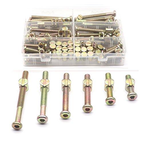 60-Set M8 Crib Screws, binifiMux 120pcs Hex Key Drive Socket Cap Crib Bolts Barrel Nuts, M8 x 30mm/ 40mm/ 50mm/ 60mm/ 70mm/ 80mm Furniture Bolt and Barrel Nuts Assortment Kit