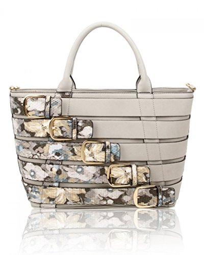 Celeb Bags Faux Leahward Grey Large Cw160477 F Handbags Women's Tote Shoulder Style Leather Ash Belt v1IRn01