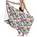 PCU6FRPJ Botanical Vintage Wallpaper Illustration Pattern Luxury Beach Towels,Highly Absorbent Face Bath Towels for Gym,Spa,Swimming,Surf,Yoga