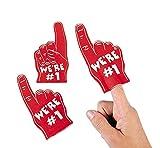 number 1 finger - Dozen RED Mini Foam Fingers
