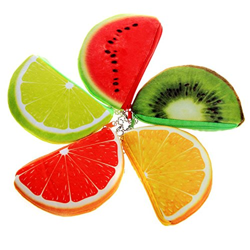 5PCS Cute Fruit Plush Coin Purse Wallet Plush Stuffed Toys Change Purse Kids Gift
