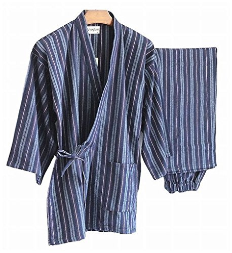 [POJ Japanese Kimono Style Top and Bottom Gown (JInbei) [ M / L Size for Men ] for Spring and Autumn] (Halloween Costume Ideas 2016 Men)