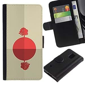 YiPhone /// Tirón de la caja Cartera de cuero con ranuras para tarjetas - Salida del sol africana abstracta - Samsung Galaxy S5 V SM-G900