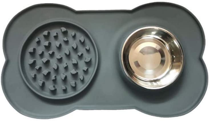 Dog Bowl Slow Feeder , Pet Bowl Fun Feeder No Choking Bloat Stop Dog Food Water Bowl, Eco-Friendly Silicone Mat Stainless Steel Water Bowl for Dogs Cats and Pets Healthy
