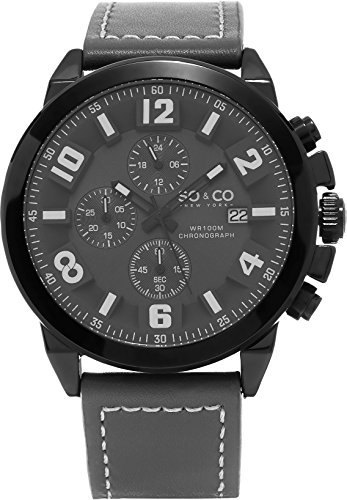 SO&CO New York Men's HN5212.2 Monticello Specialty Quartz Date Chronograph Grey Leather Band Watch