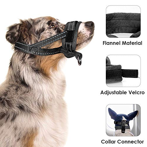 AutoWT Nylon Dog Muzzle, Adjustable Loop, Soft Flannel Padding, Comfortable Breathable Secure Quick Fit Muzzles for Small Medium Large Dog, Prevent from Biting, Chewing and Barking (M, Black)