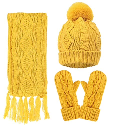 (Women Lady Winter Warm Knitted Snowflake Hat Gloves and Scarf Winter Set,Yellow)