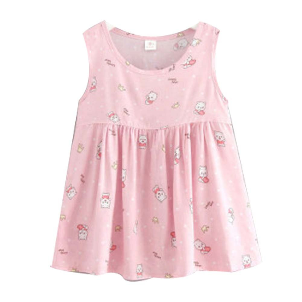 Koala Superstore [D] Kids' Pajama Home Nightdress Sleeveless Cotton Dress Vest Skirt for Girls