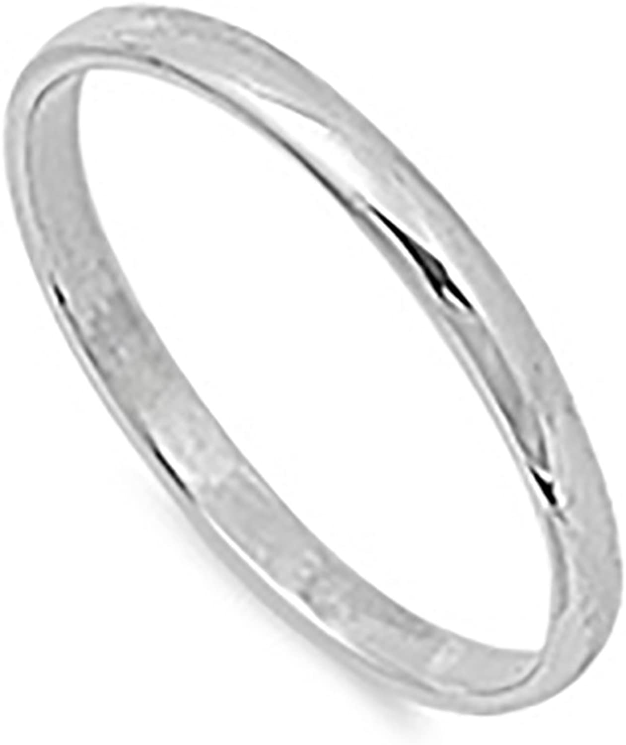 JewelryVolt Magnificent Silver Plain Band Wedding Engagement Ring Toe Pinky for Him or Her