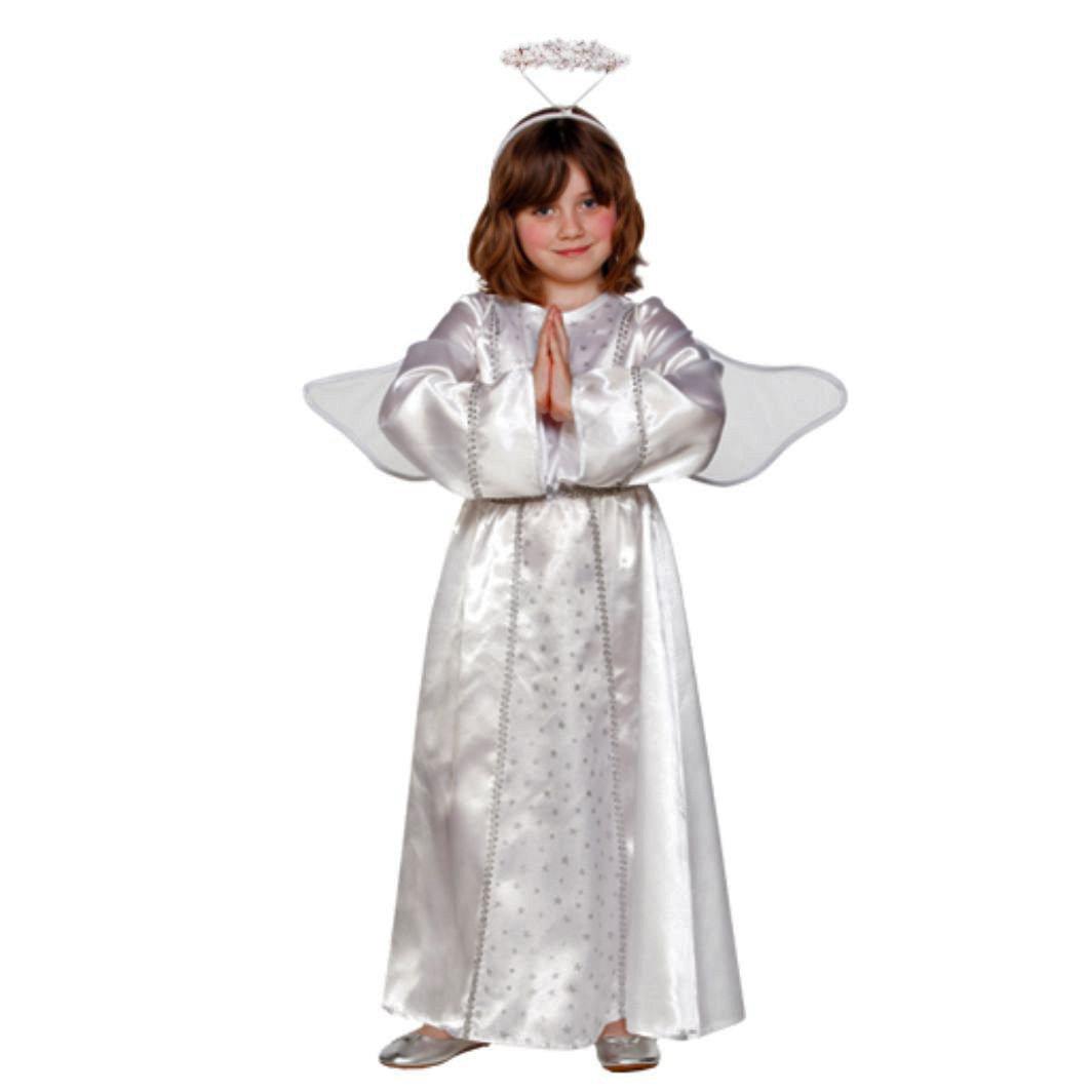 Engel Engelkostüm mit mit Engelkostüm Flügel und Heiligeschein Kinderkostüm (110/116) fa8571