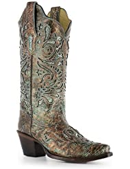 Corral Womens Turquoise Glitter Inlay Boot R1255