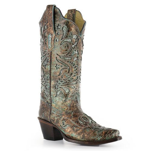 Kraal Vrouwen Turquoise Glitter Inlay Boot R1255 Brons, Turquoise